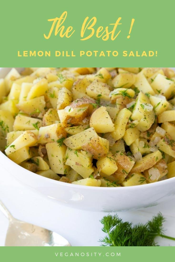 Learn how to make the best Lemon Dill Potato Salad! It's easy! #potatosalad #dill #lemon