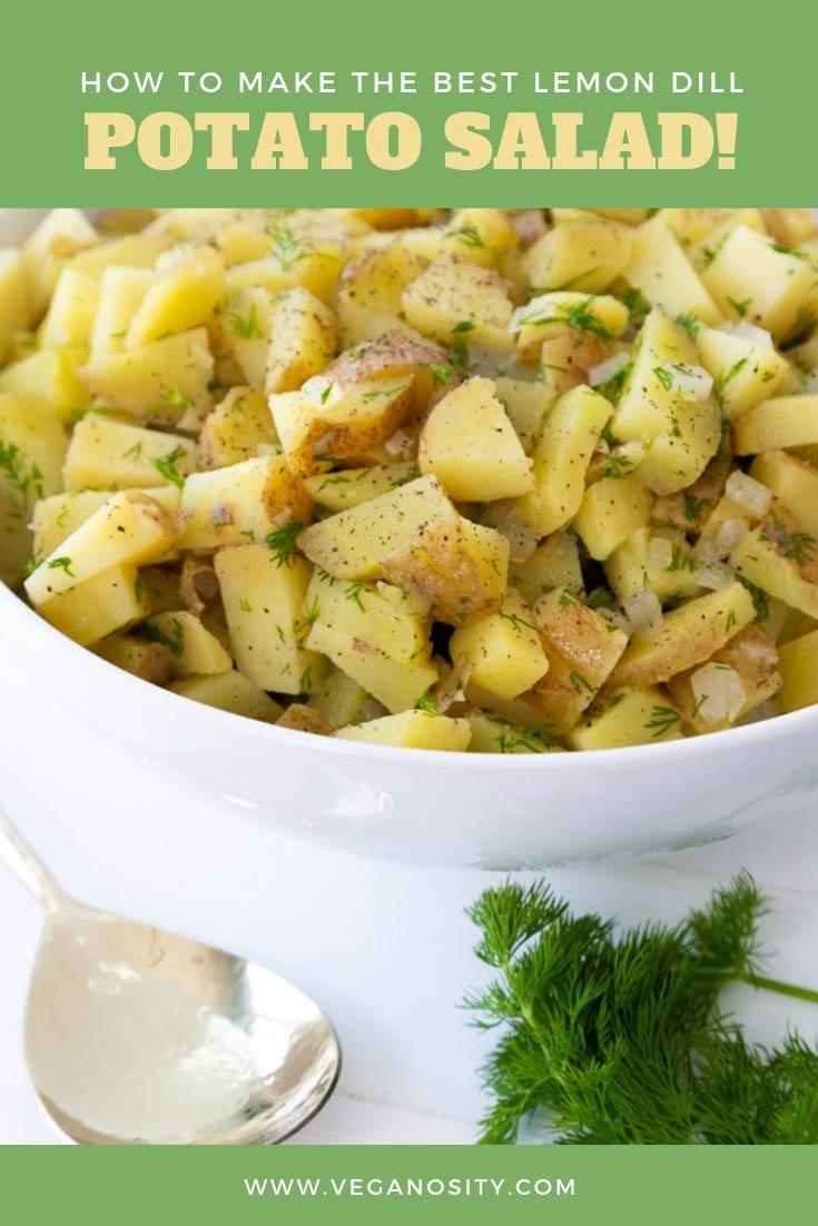 The best and easiest way to make lemon dill potato salad! Find out how! #vegan #potatosalad #lemondill