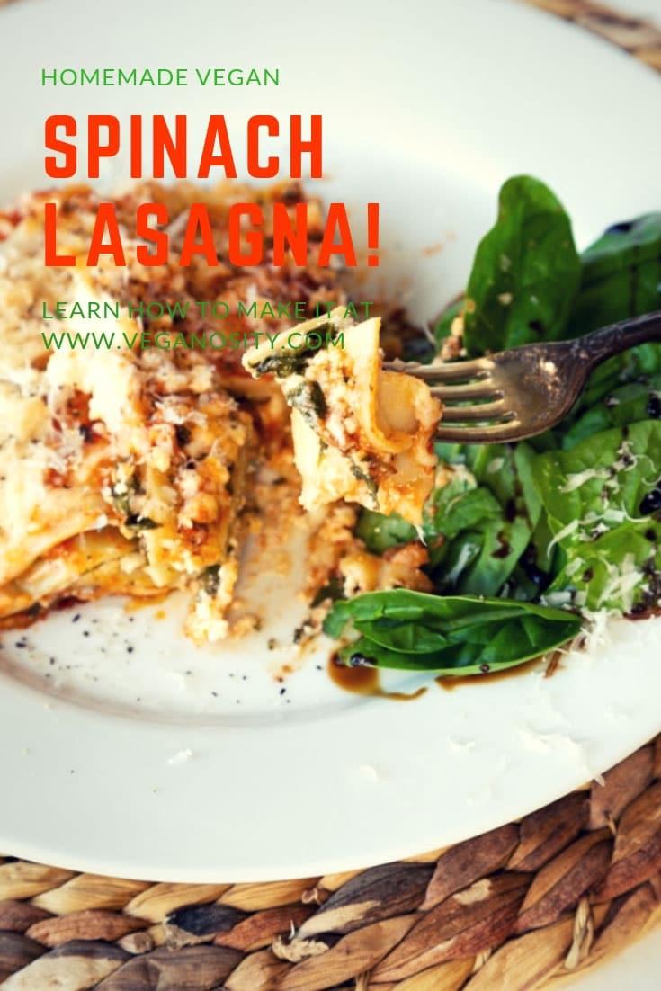Easy homemade vegan spinach lasagna! You'll never guess that it's vegan! #lasagna #vegan #dinner