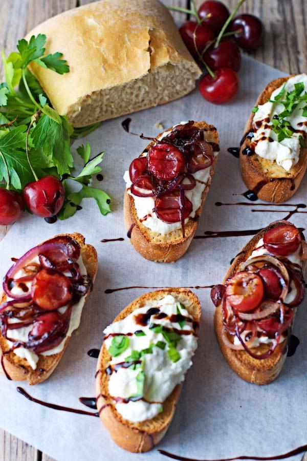 Cherry Onion Crostini Contentedness Cooking
