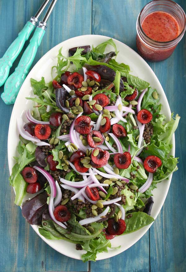 Summer Salad with Cherries and Black Lentils-The Pretty Bee