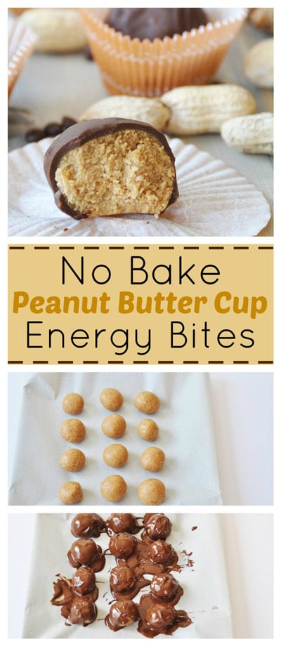A Pintterest pin for No Bake Peanut Butter Cup Energy Bites with pictures of them being made and the final product.
