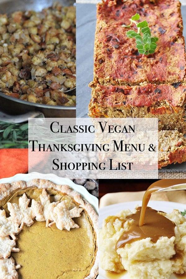 classic vegan thanksgiving cover with vegan pumpkin pie, vegan gravy, vegan stuffing, and vegan lentil loaf