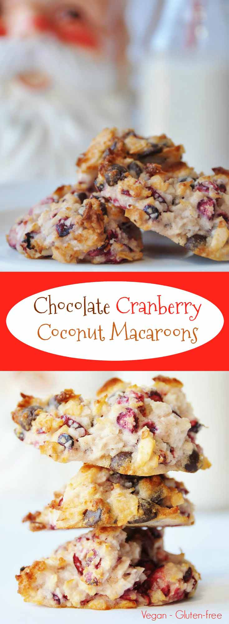 Gluten-free and vegan chocolate cranberry coconut macaroons cookie recipe! Perfect for the holidays! www.veganosity.com