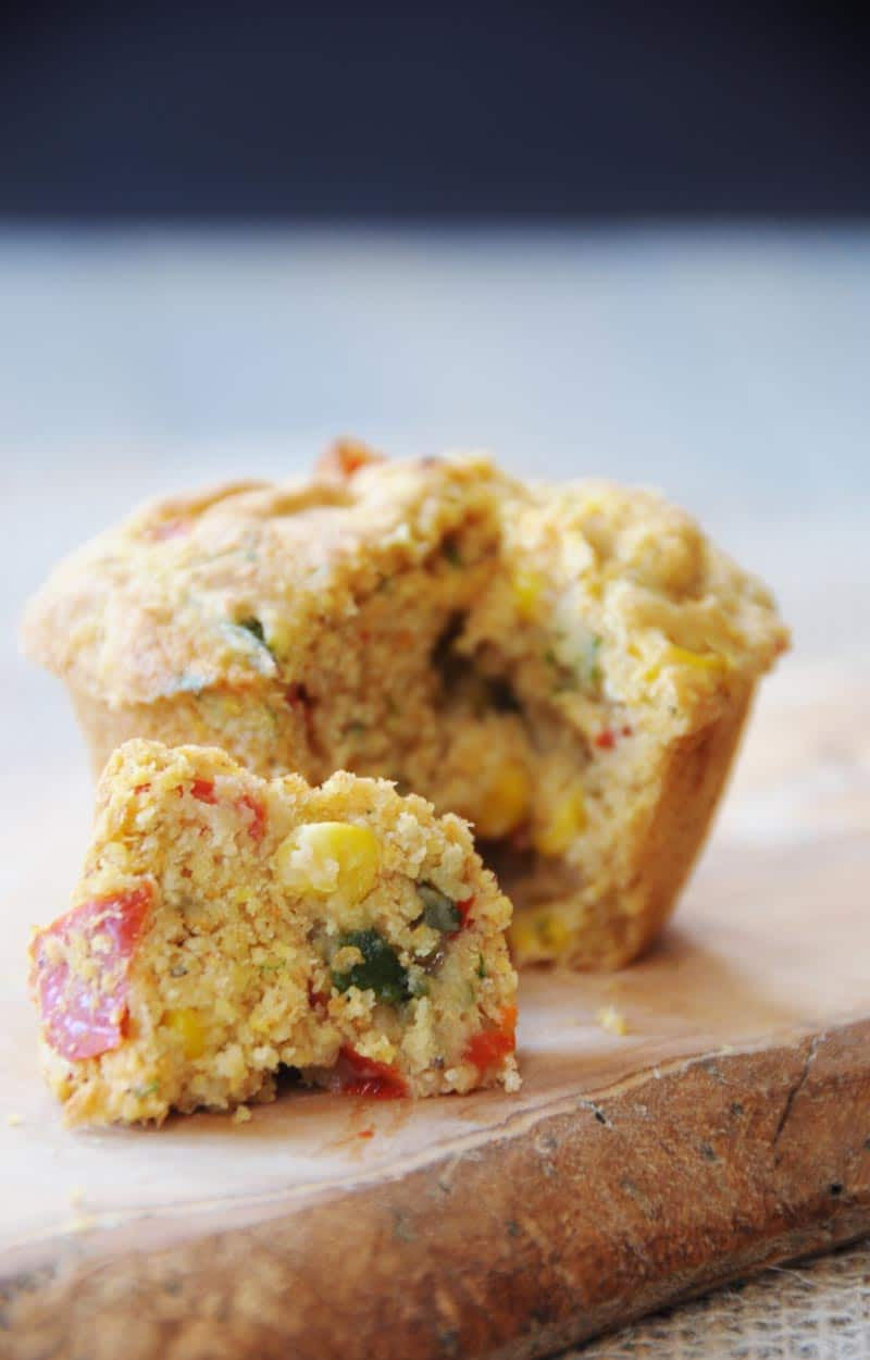 Savory Vegan Corn and Pepper Muffins. This recipe is egg, dairy, and refined sugar free. I'ts the perfect savory muffin for breakfast, lunch, dinner, or a snack. www.veganosity.com