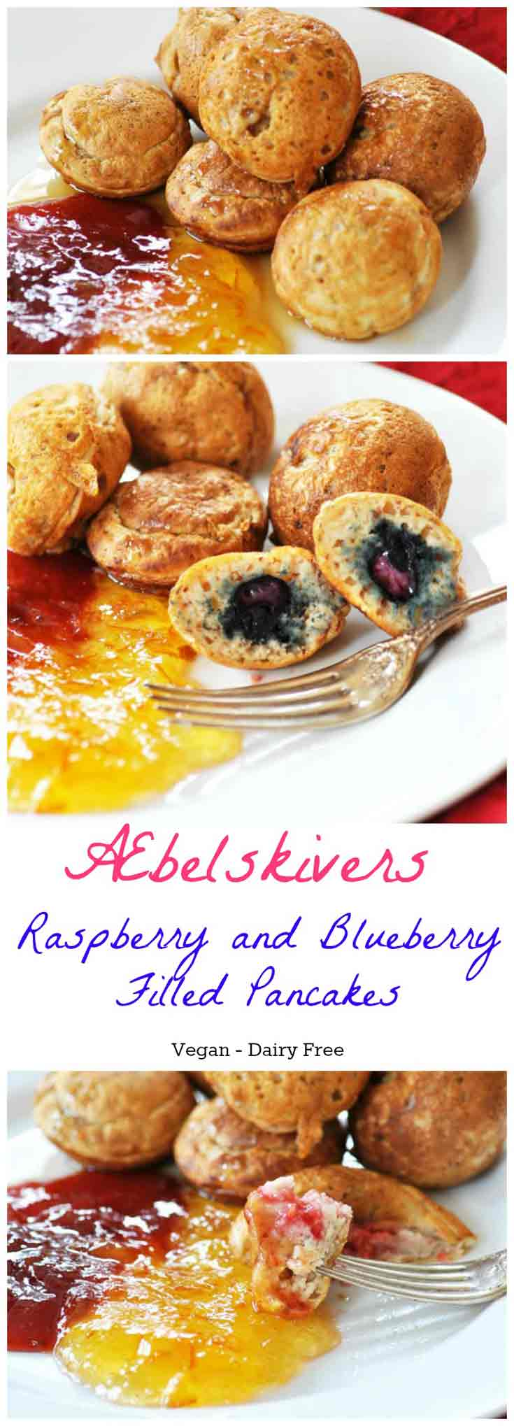 Æbelskivers - Filled Pancake Balls! This Danish filled pancake recipe is vegan and dairy-free. Light, fluffy, and delicious. Fill them with fruit, chocolate, nuts, or whatever you like. www.veganosity.com