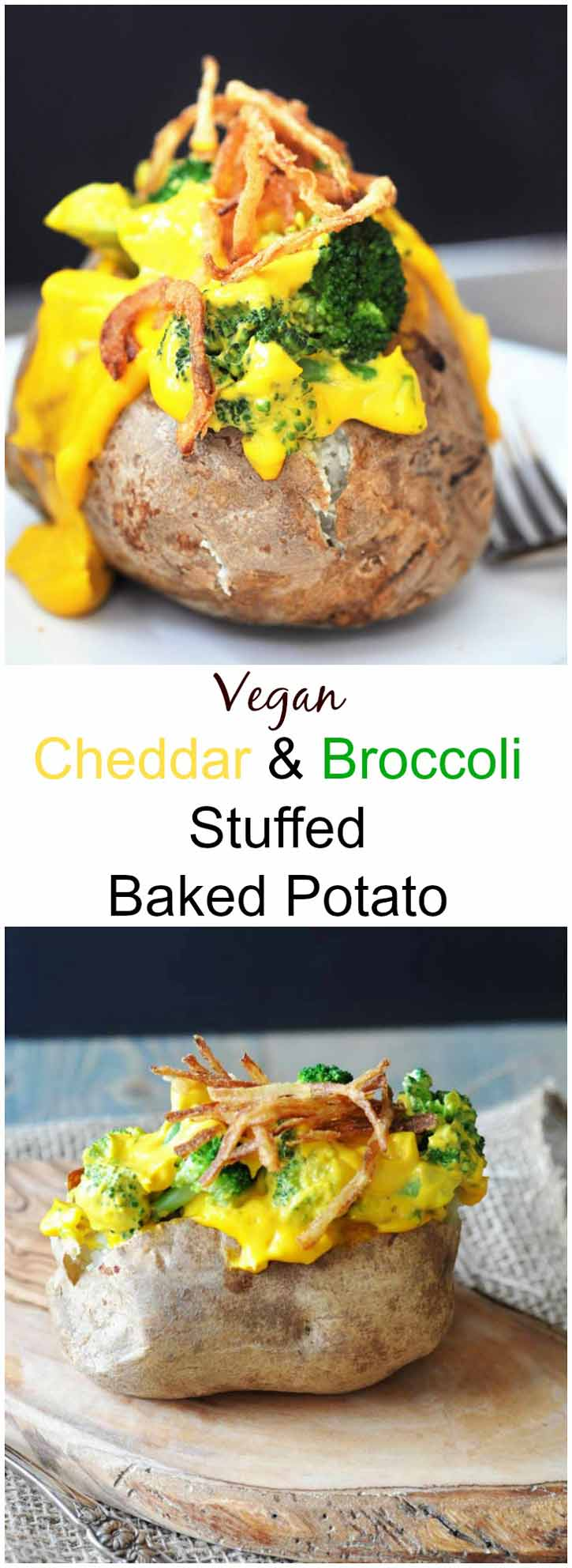 Vegan Cheddar & Broccoli Stuffed Baked Potato! Filled with our 6 Ingredient Vegan Cheddar Cheese Sauce and broccoli. The perfect easy weeknight meal. www.veganosity.com