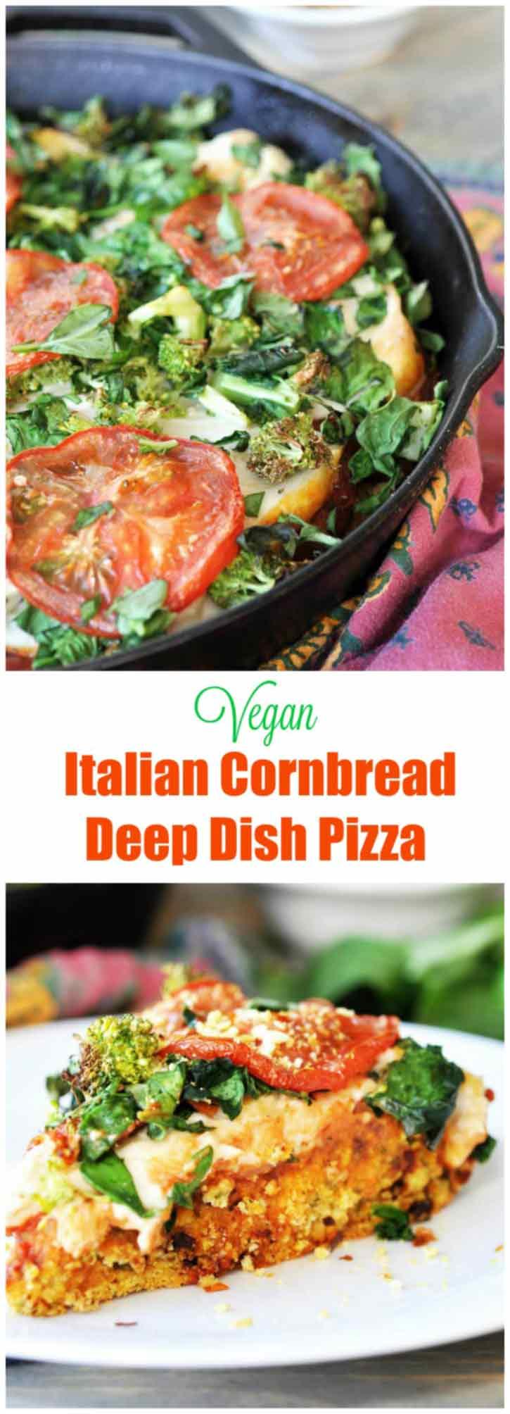 Vegan Deep Dish Pizza with Italian Cornbread Crust! This thick, gooey, delicious deep dish pizza recipe is a crowd pleaser. www.veganosity.com