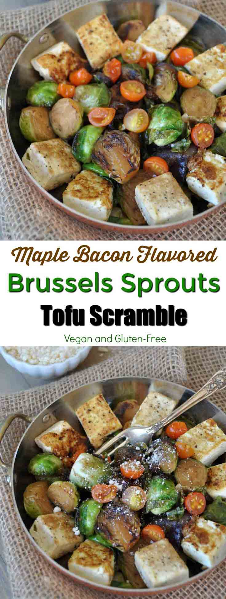 Smoky bacon flavored roasted Brussels sprouts and tofu! The perfect breakfast, lunch, or dinner! www.veganosity.com