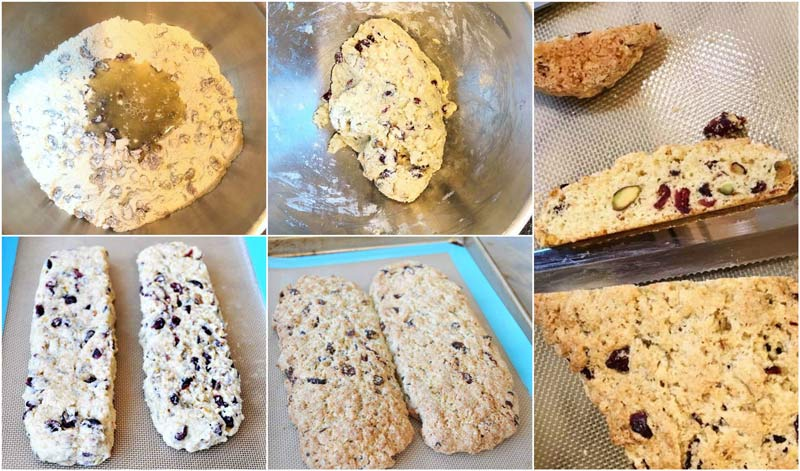 Six pictures of how to make biscotti.