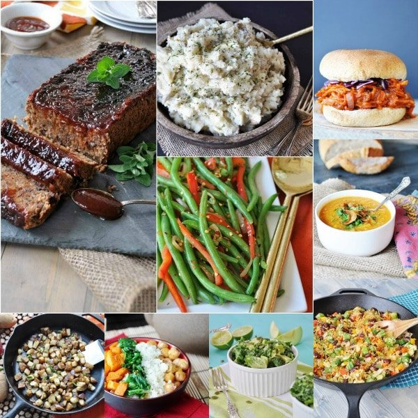 """a collage of vegan """"meatloaf,"""" mashed potatoes, BBQ carrots, corn chowder, green beans, and salad"""