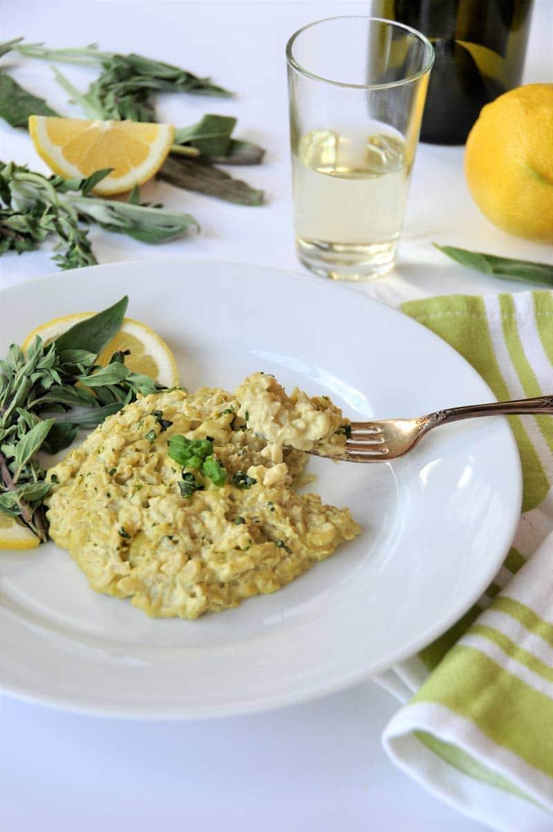 Vegan Risotto! Made with a creamy lemon, oregano, sage, and basil cashew cream sauce.