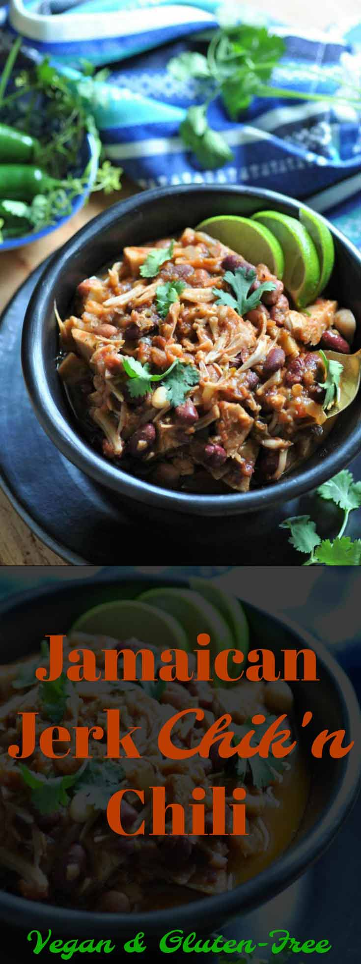 Jamaican Jerk Chik'n Chili! Jerk spices and jackfruit are the stars of this wonderful dinner favorite.