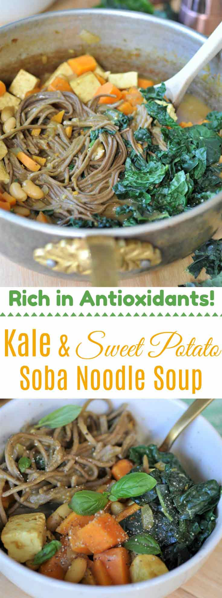 Sweet Potato & Kale Soba Noodle Soup with tofu and white beans. Vegan, easy to make, and healthy!