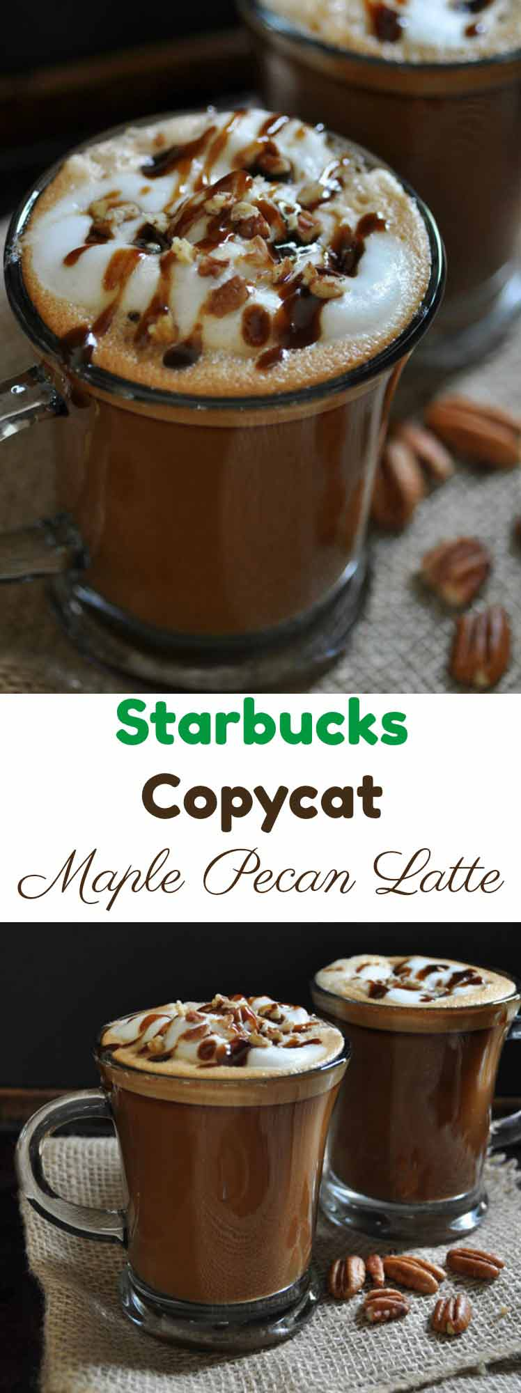 Starbucks Copycat Maple Pecan Latte made in your kitchen! Pure pecan extract and plant-based milk make it vegan!