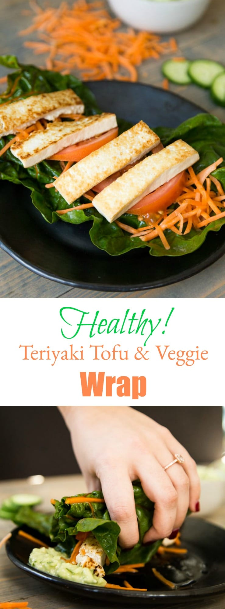 Our crunchy, creamy, and healthy baked tofu and veggie wrap is easy to make and delicious! The perfect fast and easy dinner or lunch. #vegan #tofu #wrap