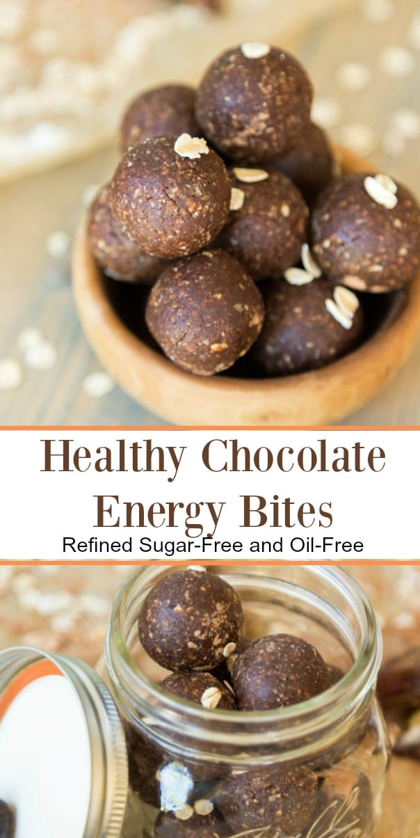 Healthy, oil-free and refined sugar-free chocolate energy bites! Made with cacao powder and whole food ingredients. #vegan #chocolate #healthysnack