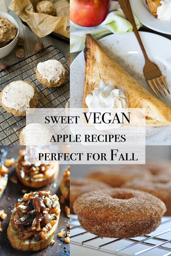 vegan apple recipes including apple donuts, apple bruschetta, apple cookies with frosting, and apple turnovers
