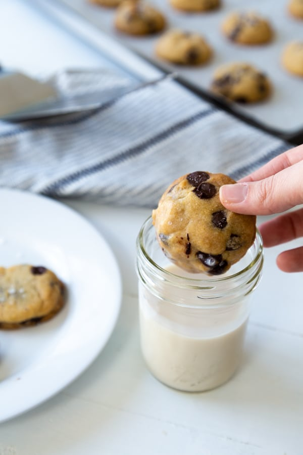 A hand dunking a chocolate chip cookie in a glass of milk