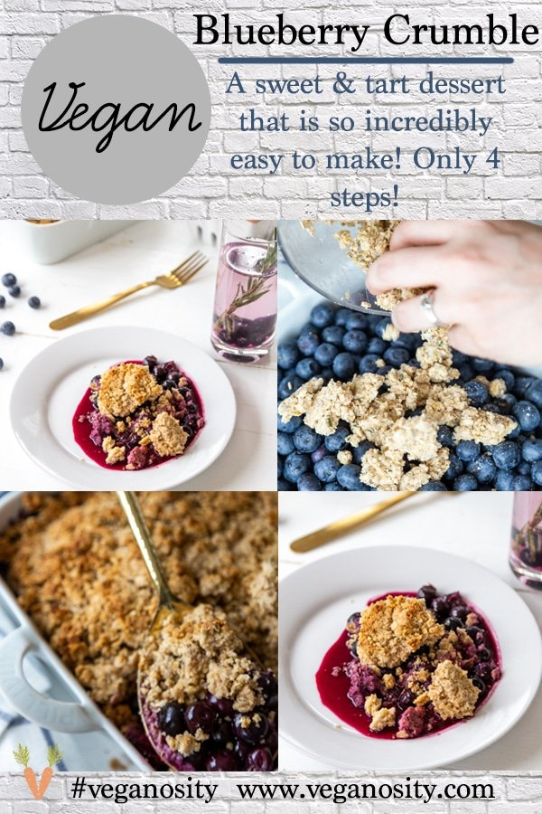 A Pinterest pin for blueberry & rosemary crisp with four pictures of the crisp with a white background.