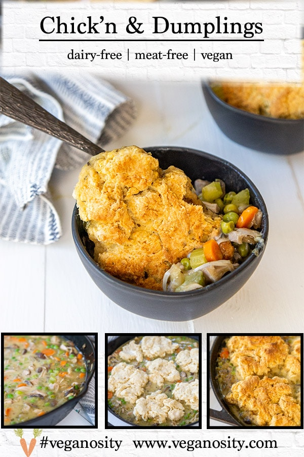 A Pinterest pin for vegan chickens and dumplings with four pictures of the recipe.