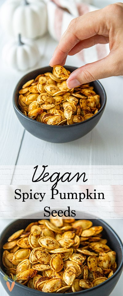 A Pinterest pin for roasted pumpkin seeds with 2 pictures of the seeds.